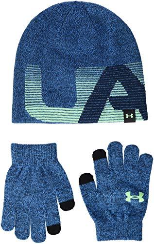 (Under Armour Boy's Beanie/Gloves Combo (Little Kids/Big Kids) Blue Circuit/Academy/Green Typhoon One Size)