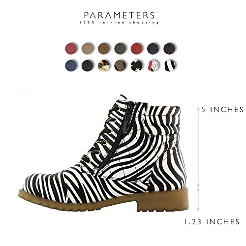 High Pu Card Premium Ankle Pocket Buckle Zebra Military Credit Boots DailyShoes Exclusive Women's Combat Up wqv0xw67g