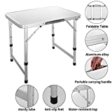 Mewalker 2FT Ultralight Aluminum Alloy Adjustment Foldable Utility Table with Carrying Handle Perfect for Working/Gaming/Hiking/Picnic/Garden/Beach/Camping Functions/BBQ (US STOCK)
