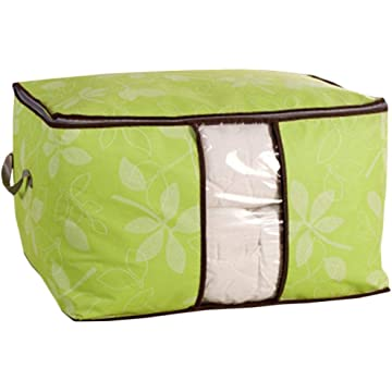 Ladiy Foldable Storage Bag Space Saving Blanket Pillow Quilt Closet Organizer Box Space Saver Bags