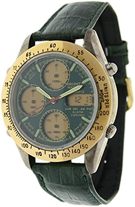 Orient Watch Hd-8221-d Reloj Analogico/Digital para Hombre Caja De Metal Esfera Color Verde