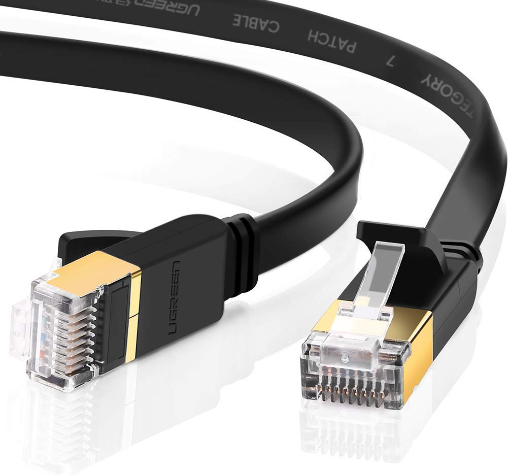UGREEN Ethernet Cable, Cat 7 Gigabit LAN Network RJ45 High-Speed Patch Cord Flat Design 10Gbps for 600Mhz/s STP for Raspberry Pi 4, Console, PS3, PS4, Switch, Router, Modem, Patch Panel, PC (30FT) by UGREEN