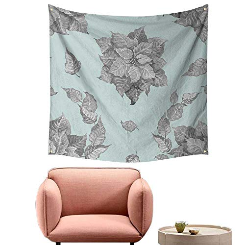 alsohome Dorm Room Tapestry Pretty Tapestry for Bedroom Grey Poinsettia Flower On A Blue Backgroun for A Backgroun Or Wallpaper 63