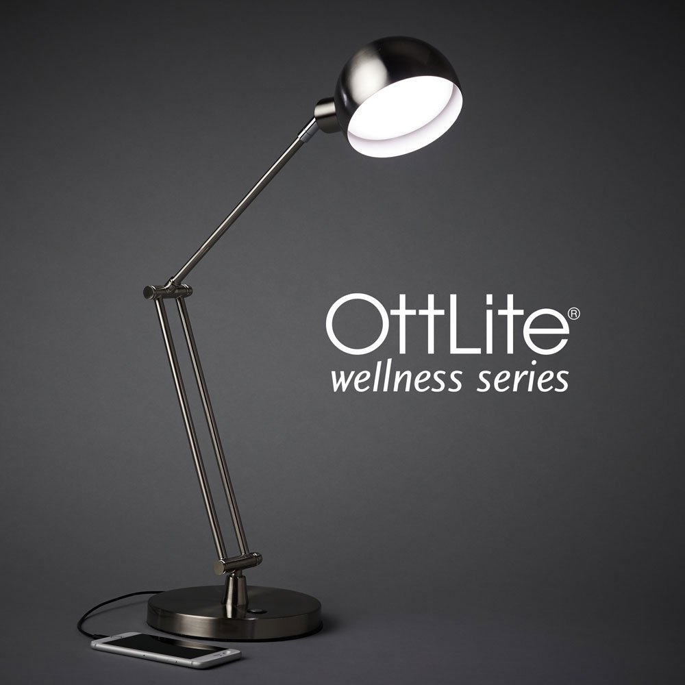 OttLite Refine LED Desk Lamp with USB Charging Port | Touch-Sensitive Switch, 4 Brightness Mode, Adjustable, Reduces Eyestrain | Great for Office, Home, Table, Dorm, Bedroom, College (Brushed Nickel)