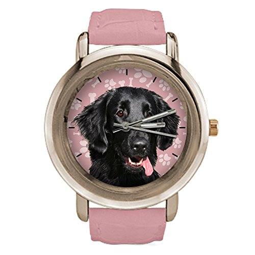 Watch Retriever Flat (Funny Rose Gold Watches for Women With Flat Coated Retriever Dog,Pink Leather)