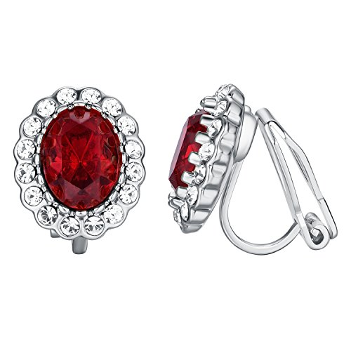 Red Circular Earring - Yoursfs Clip On Earrings Circular Crystal Hypoallergenic Engagement Wedding Dainty Earrings (Fake Ruby Clip Earrings)