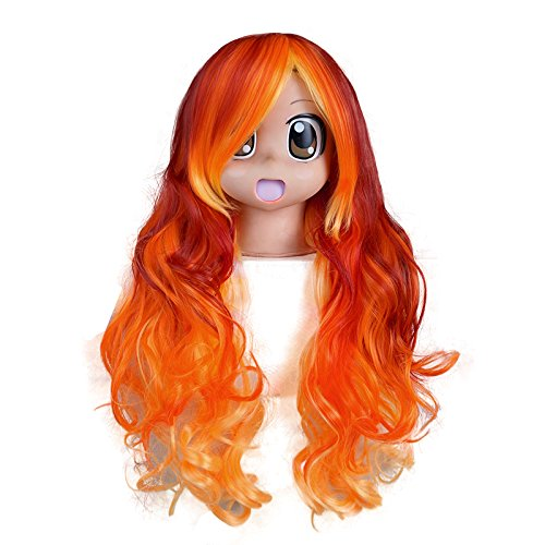 Halloween Party Red Mixed Orange Yellow Curly 30 Inches L...