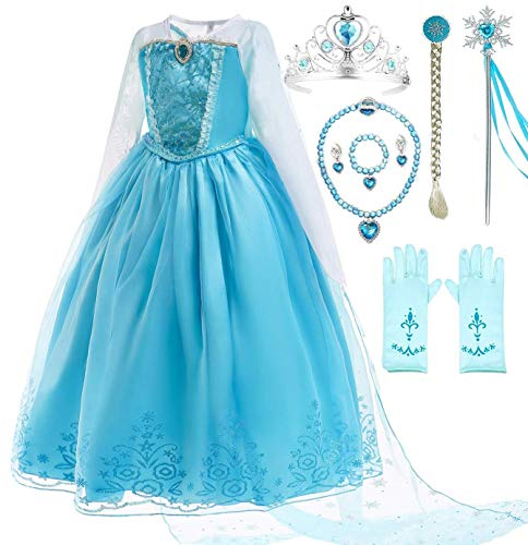 Romy's Collection Ice Queen Blue Party Princess Elsa Costume Dress-Up Set, -