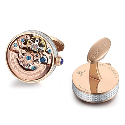 Dich Creat Limited Edition Rose Gold PVD Hand Made Inlay Jewels Skeleton Automatic Working Watch Movement Cufflinks (Rose Gold)