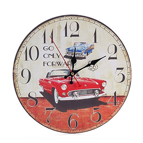 Retro Wall Clocks, Battery Operated Non Ticking 12 inch - Vintage Colorful Wood Wall Clock Silent - Analog Quartz Wooden Kitchen Wall Clocks Large Decorative for Bedrooms, Living Room, (Car)
