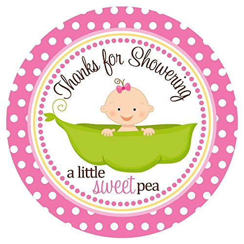 Sweet Pea in a Pod Baby Shower Stickers Labels - Set of 30 -