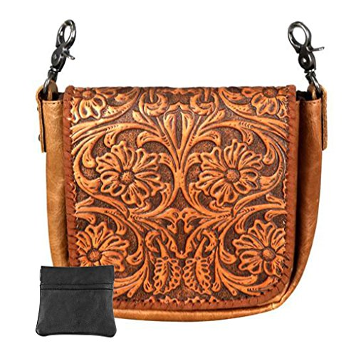 Handcrafted Leather Convertible Clutch Crossbody Handbag Biker Bag (Brown with Tooled ()