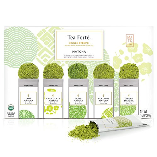 (Tea Forte Organic Matcha Green Tea Sampler, Stone Ground Culinary Grade Green Tea Matcha)