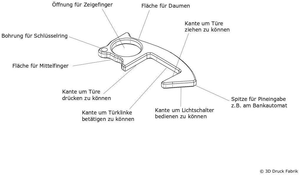 1 3D Druck Fabrik T/ür/öffner Klinkli f/ür unterwegs zum Schutz vor Viren und Bakterien