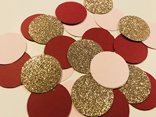 Designs by DH Confetti 100 Pieces Paper Circles Rose Gold Blush Pink Burgundy Wine Birthday Bridal Shower Wedding Party (Burgundy Rose Table Runner)