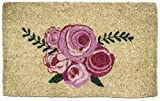 Entryways Roses, Hand-Stenciled, All-Natural Coconut Fiber Coir Doormat 18'' X 30'' x .75''