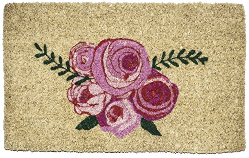 Entryways Roses, Hand-Stenciled, All-Natural Coconut Fiber Coir Doormat 18