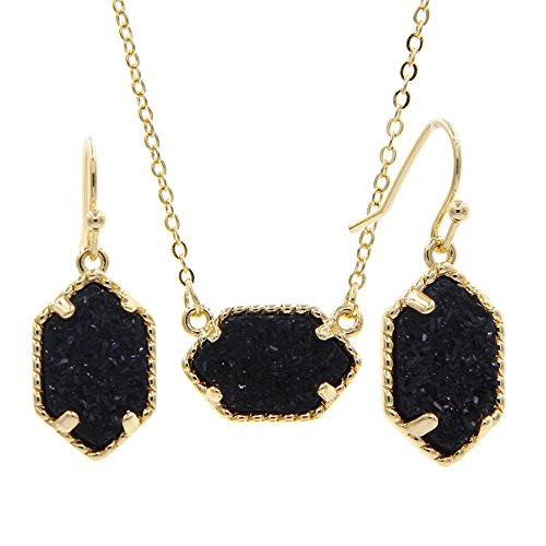 YUJIAXU Framed Oval Faux Druzy Chic Choker Necklace + Drop Earrings Jewelry Set Women's Super (Gold Black) (Set Gold Pendent)