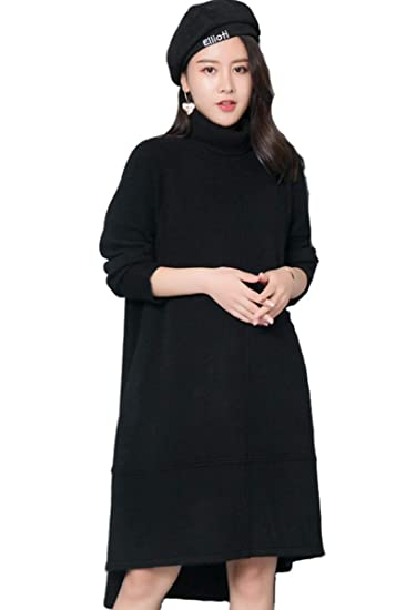 Amazon.com  RanRui Women s Turtleneck Dress Oversized Cashmere Wool  high-Low Hem Sweater Dress Long Sleeve (Black 3c26fba468a2
