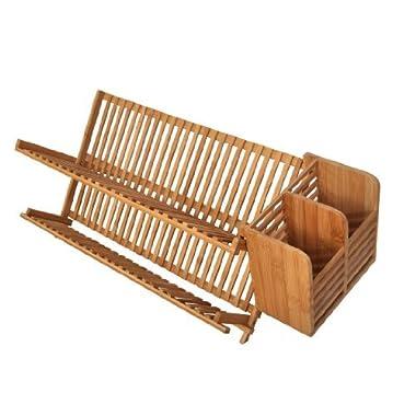 Bamboo Scissor Style Folding Dish Rack W/Flatware Holder Set.