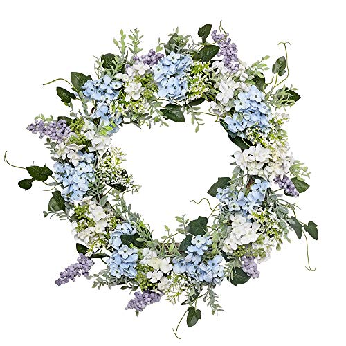 VGIA 20 Inch Artificial Flower Wreath Beautiful Silk Spring Wreath for The Front Door, Home Decor in Summer and Fall, Weddings]()