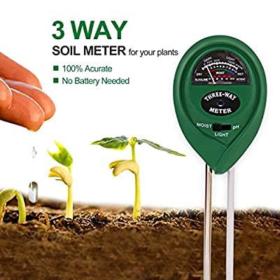 Elenest 3-in-1 Soil pH Meter, Light and Moisture / Acidity Meter Plant Tester, Helpful for Garden, Farm, Lawn, Indoor & Outdoor (No Battery Required)