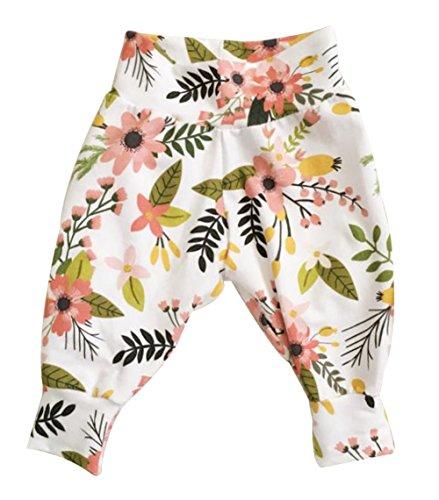 Baby Boys Girls Deer Floral Leaf Print Harem Pants Leggings Long Trousers Size 12-18 Months/Tag90 (Pink)