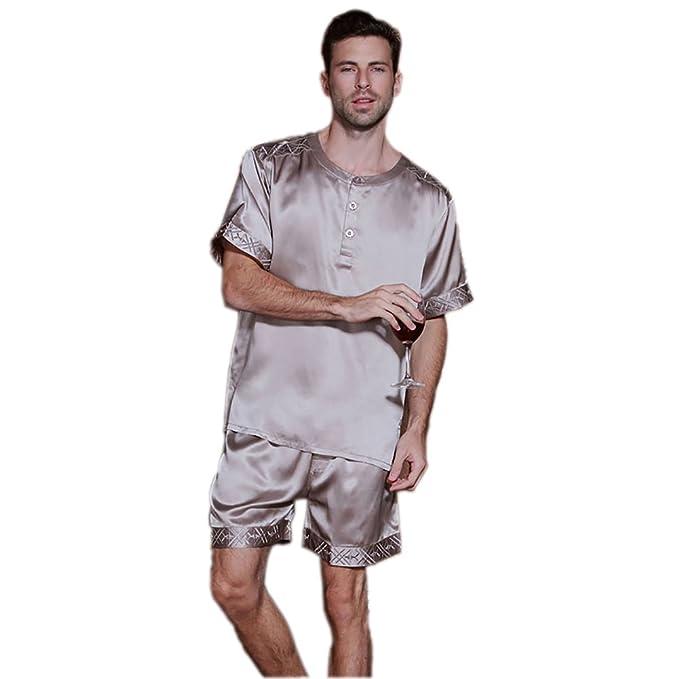 SILKTALK Conjunto de Pijama Hombre Dos Piezas 100% Seda Natural Cuello Redondo Manga Corta Ropa