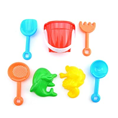 Fenfangxilas Beach Sand Kit, Mini Kids Shovel Rake Bucket Molds Garden Sandpit Play Toy, Pack of 7 Random Color 7pcs: Garden & Outdoor