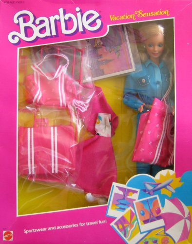 Barbie Vintage Umbrella (Vintage BARBIE VACATION SENSATION Doll (BLUE) w Sportswear & Accessories For Travel Fun (1986))