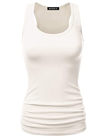 c7db5d988d82e3 JJ Perfection Women s Casual Essential Solid Racerback Tank Top Ivory Small