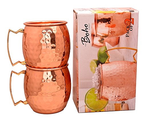 The Boho Street Moscow Mule Handcrafted 100% Pure Copper Mugs Brass Handles Set of 2 Solid Copper Hammered Mugs 16 oz by The Boho Street