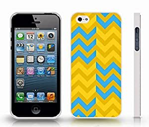 Case For Htc One M9 Cover with Chevron Pattern Blue/ Yellow/ Orange Stripe , Snap-on Cover, Hard Carrying Case (White)