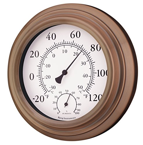 8 antique copper finish decorative indoor outdoor thermometer and hygrometer thermometers. Black Bedroom Furniture Sets. Home Design Ideas