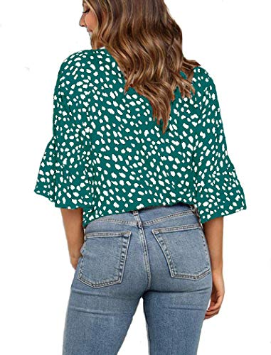 Kancystore Womens Button Down V Neck Tie Knot Front Tops 3/4 Sleeve Chiffon Casual Blouse Shirts 3