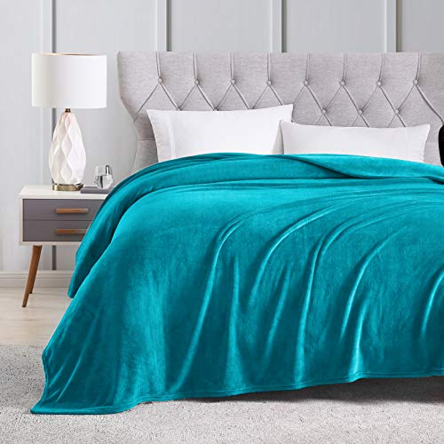 EXQ Home Fleece Blanket Queen Size Teal Throw Blanket for Bed or Couch - Microfiber Fuzzy Flannel Blanket for Adults or Kids