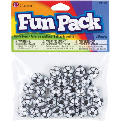 Cousin Fun Packs 30-Piece 12mm Soccer Ball Beads