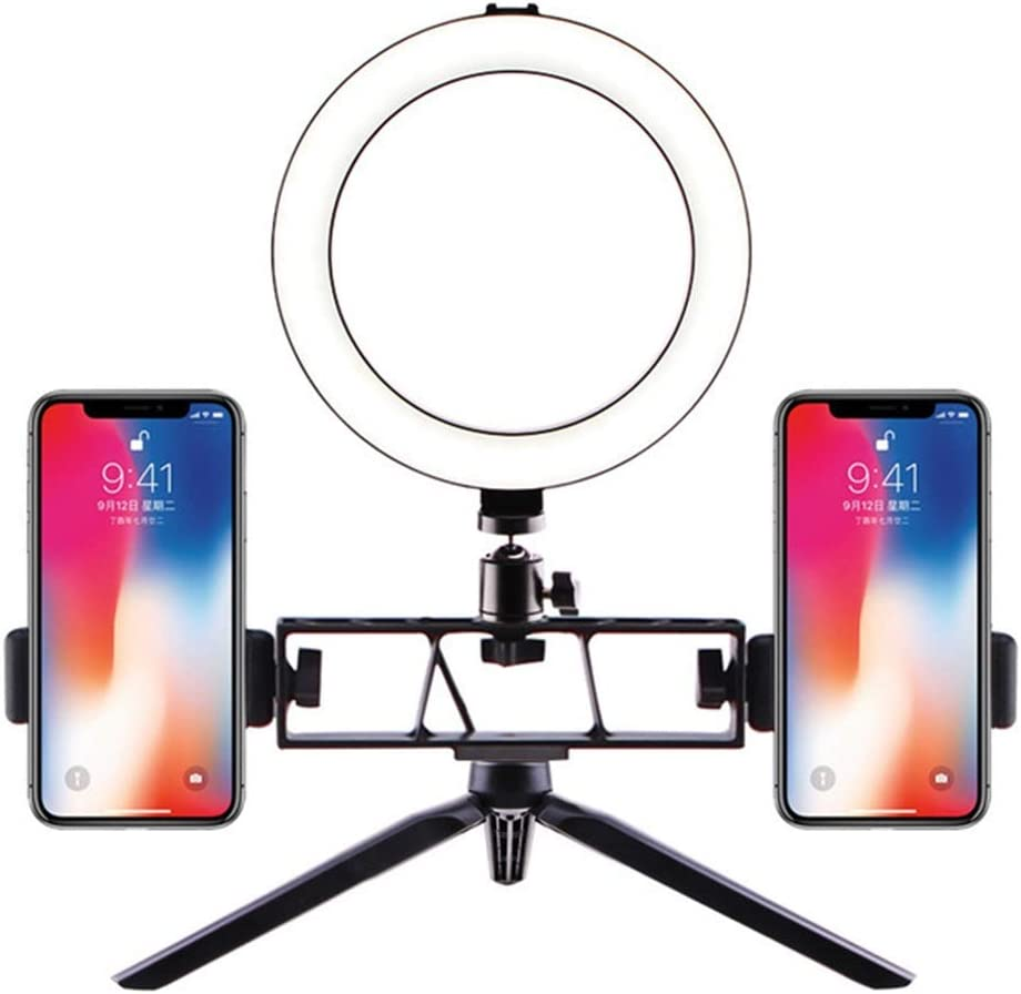 Mini LED Camera Light with Cell Phone Holder Desktop LED Lamp LED Ring Light with Tripod Stand for YouTube Video and Makeup Color : 16cm