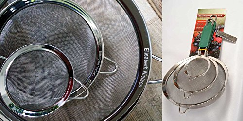 Stainless Steel Fine Mesh Strainer: Kitchen Sieve Set - Quinoa Friendly Handheld Metal Food Strainers, Warranted -Bonus Set of Tea Infusers Included