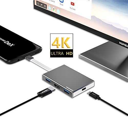 Type C to HDMI Adapter for Nintendo Switch/Samsung Galaxy S8/Note 8,Wofalodata USB C 3.1 HUB Converter(4K Resolution)with 3-Port USB 3.0 Mini Dock(Dex Mode)for MacBook Pro/New MacBook