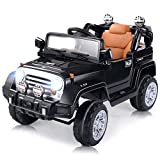 Costzon Ride On Jeep Car, 12V 2WD Powered Truck, Manual/ Parental Remote Control Modes Truck Vehicle with Headlights, MP3 Port, Music, Horn for Kids (Black Jeep)