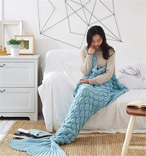 L-APZRIER Colorful Handmade Knitted Mermaid Tail Blanket Adult/Child/Baby Mermaid Blanket Knit Cashmere-Like TV Sofa Blanket Fish Scale Sky Blue 90x190cm
