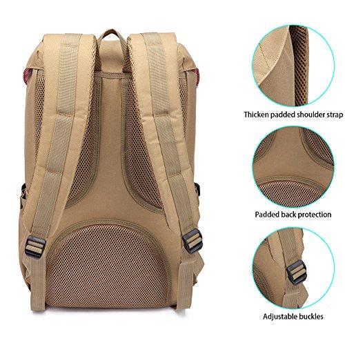 Mochila portátil Unisex Paquete de ocio de moda Para excursiones al aire libre viajes camping Por KAUKKO (Lona Ejercito verde) Nylon Caqui
