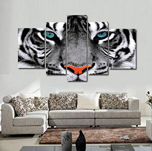 hdmfl Modern Wall Art Modular Canvas Painting 5 Pieces Animal Tiger Eyes Picture Frame Decoration Living Room Family HD Printing
