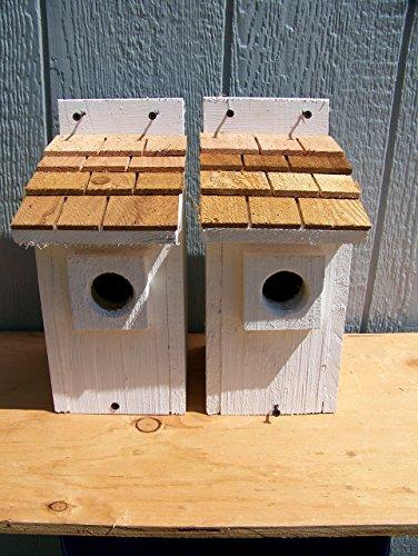 2 White Bluebird Houses with cedar shake roof... 2 houses handmade by Cedarnest