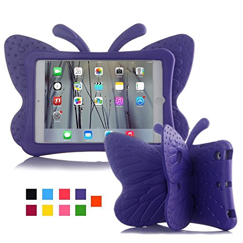 iPad mini case for kids, Feitenn Non-toxic Light weight 3D Cartoon Butterfly EVA Shockproof Drop proof Stand Case for Ipad mini / iPad mini 2 / iPad mini 3/ iPad mini 4 case (Purple)