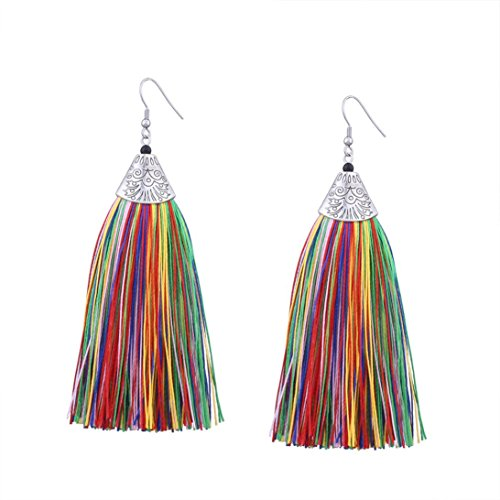 Elogoog Women Girl Vintage Long Tassel Dangle Earrings Bohemia Ethnic Ladies Jewelry (Santa Dangle)