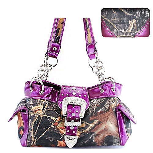 2015 New Style Rhinestone Buckle Concho Concealed Carry Camouflage Leather Shoulder Handbag Purse in Purple