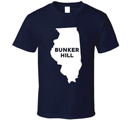 Bunker Hill Illinois Map.Amazon Com Bunker Hill Illinois City Map Usa Pride T Shirt Clothing