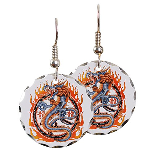 Earring Circle Charm Dragon in Ring of Flames